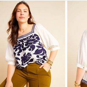 Anthropologie NWT Maeve Liyah Embroidered Blouse Size 16W.